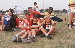Multiracial group of people with disabilities at Special Olympics,