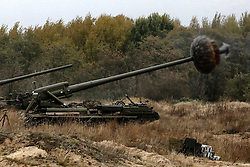 October 21, 2016 - Divychky, Ukraine - Ukrainian servicemen fire a 203mm self-propelled gun 'Pion' during a military exercise on the Devichki shooting range, about 85 km of capital Kyiv, Ukraine, 21 October 2016. (Credit Image: © Maxym Marusenko/NurPhoto via ZUMA Press)