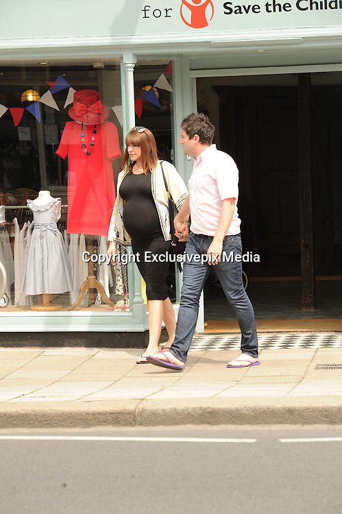 EXCLUSIVE<br /> Gogglebox star George Gilbey and his Girlfiend Gemma who are due there baby today pictured out in Twickenham waiting for the new edition to there Gogglebox family.<br /> &copy;Exclusivepix Media