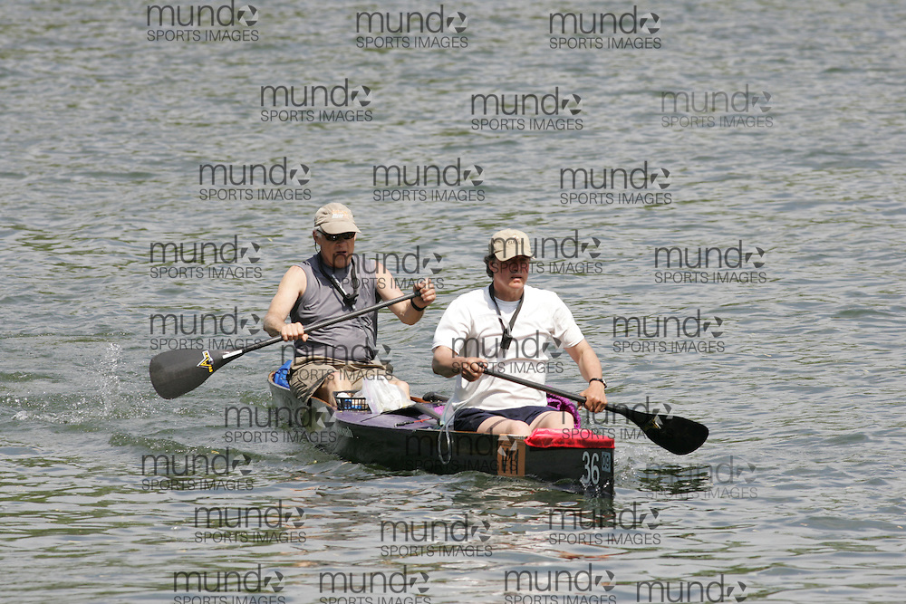(Cooperstown to Bainsbridge, NY---26 May 2008) The 2008 General Clinton Regatta for Canoes held on 70 miles of the Susquehana River between Cooperstown and Bainsbridge, New York. The boat pictured is V11 DOUG BERG, GREG ZOPHY