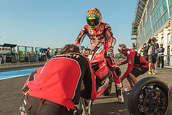 September 29, 2018 - 07, Chaz Davies, GBR, Ducati Panigale R, Aruba.it Racing - Ducati, SBK 2018, MOTO - SBK Magny-Cours Grand Prix 2018, Free Practice 4, 2018, Circuit de Nevers Magny-Cours, Acerbis French Round, France ,September 29 2018, action during the SBK Free Practice 4 of the Acerbis French Round on September 29 2018 at Circuit de Nevers Magny-Cours, France (Credit Image: © AFP7 via ZUMA Wire)