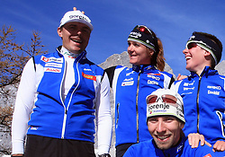 Slovenian team of nordic skiing:  1st line: Nejc Brodar,  2nd line: Ivan Hudac, Petra Majdic and Barbara Jezersek  at practice of Slovenian Cross country National team before new season 2008/2009, on October 22, 2008, glacier Dachstein, Ramsau, Austria. (Photo by Vid Ponikvar / Sportida).