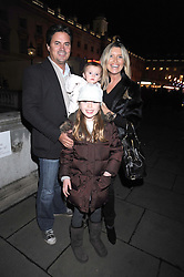 Actress TINA HOBLEY, her daughters ISABELLA and OLIVIA and her husband OLIVER WHEELER at the opening of the Somerset House ice Rink for 2008 sponsored by Tiffany & Co held at Somerset House, The Strand, London on 18th November 2008.