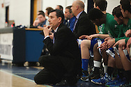 Colchester head coach Joe Maheux watches the action on the team during the first round of the boys high school basketball playoffs between the Colchester Lakers and the Mount Mansfield Cougars at MMU High School on Tuesday night February 16, 2016 in Jericho. (BRIAN JENKINS/for the FREE PRESS)