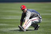LOS ANGELES, CA - APRIL 29:  Bryce Harper #34 of the Washington Nationals stretches before the game against the Los Angeles Dodgers on Sunday, April 29, 2012 at Dodger Stadium in Los Angeles, California. The Dodgers won the game in a 2-0 shutout. (Photo by Paul Spinelli/MLB Photos via Getty Images) *** Local Caption *** Bryce Harper