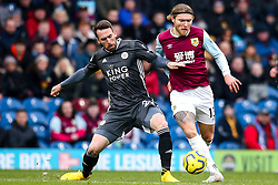 Christian Fuchs of Leicester City tackles Jeff Hendrick of Burnley - Mandatory by-line: Robbie Stephenson/JMP - 19/01/2020 - FOOTBALL - Turf Moor - Burnley, England - Burnley v Leicester City - Premier League
