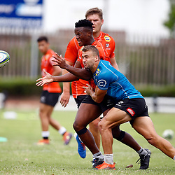 Jeremy Ward of the Cell C Sharks tackling Phendulani Buthelezi of the Cell C Sharks during The Cell C Sharks training session 5th December 2019 at Jonsson Kings Park Stadium in Durban, South Africa. (Photo by Steve Haag)<br /> <br /> images for social media must have consent from Steve Haag
