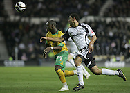 Derby - Tuesday October 28th, 2008: Lewin Nyatanga of Derby County and Leroy Lita of Norwich City in action during the Coca Cola Championship match at Pride Park, Derby. (Pic by Michael Sedgwick/Focus Images)