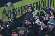Crewe Alexandra fan celebrating during the EFL Sky Bet League 2 match between Macclesfield Town and Crewe Alexandra at Moss Rose, Macclesfield, United Kingdom on 21 January 2020.