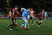 Connor Wood and Max Sheaf  during the EFL Sky Bet League 2 match between Bradford City and Cheltenham Town at the Utilita Energy Stadium, Bradford, England on 28 January 2020.