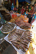 Phnom Penh, Cambodia. Central Market. Smoked fish.