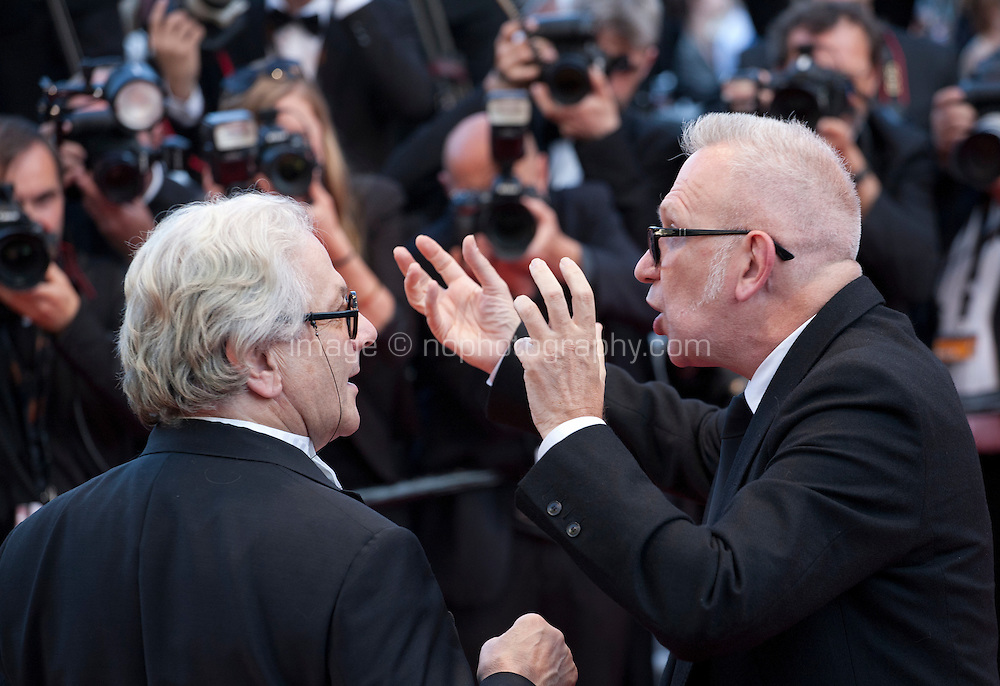Director George Miller and Jean-Paul Gaultier at the gala screening for the film Julieta at the 69th Cannes Film Festival, Tuesday 17th May 2016, Cannes, France. Photography: Doreen Kennedy