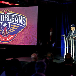 Jan 21, 2013; New Orleans, LA, USA; New Orleans Hornets ownerTom Benson during a press conference to announce the rebranding of the team to the New Orleans Pelicans effective in the 2013-2014 NBA season at the New Orleans Arena. Mandatory Credit: Derick E. Hingle-USA TODAY Sports