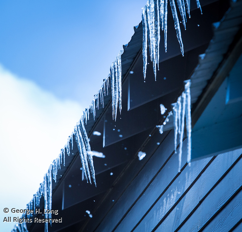 Icicles hang from roof at 22276 Level Street in Abita Springs, Louisiana