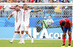 SAMARA, June 17, 2018  Dusko Tosic (L) and Aleksandar Kolarov (C) of Serbia celebrate their victory after a group E match between Costa Rica and Serbia at the 2018 FIFA World Cup in Samara, Russia, June 17, 2018. Serbia won 1-0. (Credit Image: © Ye Pingfan/Xinhua via ZUMA Wire)