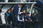 Derby County management team in conversation during the EFL Sky Bet Championship match between Derby County and Millwall at the Pride Park, Derby, England on 14 December 2019.
