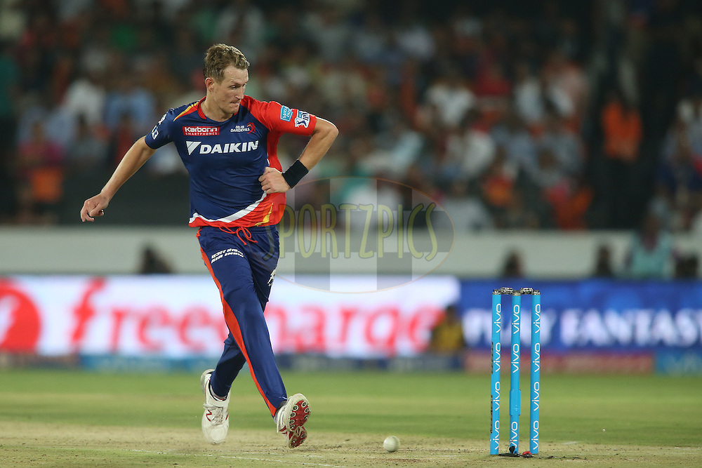 Christopher Morris of Delhi Daredevils kicks the ball towards the stumps while attempting a run out during match 42 of the Vivo IPL 2016 (Indian Premier League) between the Sunrisers Hyderabad and the Delhi Daredevils held at the Rajiv Gandhi Intl. Cricket Stadium, Hyderabad on the 12th May 2016<br /> <br /> Photo by Shaun Roy / IPL/ SPORTZPICS