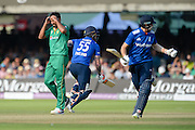 Wahab Riaz of Pakistan has hands in his head as Joe Root Ben Stokes run through for a single during the Royal London ODI match between England and Pakistan at Lord's Cricket Ground, St John's Wood, United Kingdom on 27 August 2016. Photo by David Vokes.