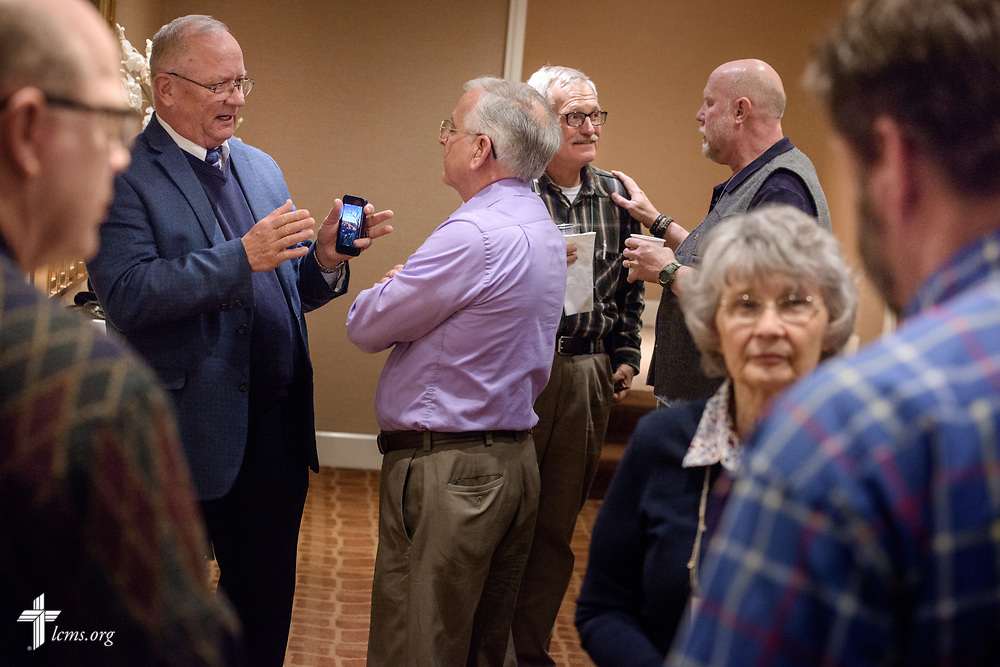 Attendees gather for fellowship during a break at the Operation Barnabas conference event on Thursday, March 15, 2018, at the Hilton St. Louis Airport hotel in St. Louis. LCMS Communications/Erik M. Lunsford