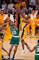 17 June 2010: Guard Kobe Bryant of the Los Angeles Lakers shoots the ball over Ray Allen of the Boston Celtics during the first half of the Lakers 83-79 championship victory over the Celtics in Game 7 of the NBA Finals at the STAPLES Center in Los Angeles, CA.