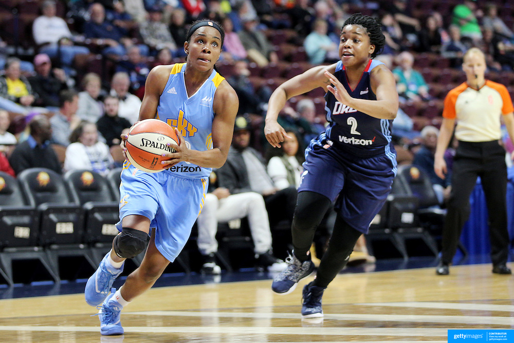 UNCASVILLE, CONNECTICUT- MAY 05:  Jordan Jones #13 of the Chicago Sky drives past Niya Johnson #2, (right), of the Atlanta Dream in action during the Atlanta Dream Vs Chicago Sky preseason WNBA game at Mohegan Sun Arena on May 05, 2016 in Uncasville. (Photo by Tim Clayton/Corbis via Getty Images)