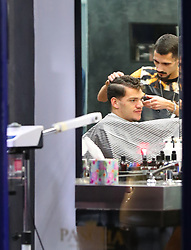 Manchester City goalkeeper Ederson has his haircut at Pascha in Alderley Edge, Cheshire