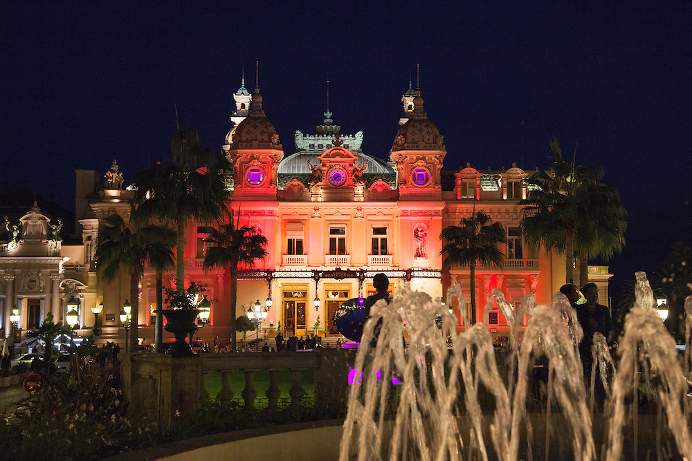 Monte Carlo's Casino lit up pink for the Pink Ribbon organisation.