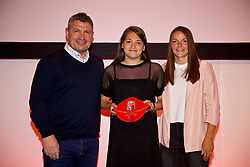 NEWPORT, WALES - Saturday, May 19, 2018: Safia Middleton-Patel is presented with her Under-16's cap by Osian Roberts (left) and Lauren Dykes (right) during the Football Association of Wales Under-16's Caps Presentation at the Celtic Manor Resort. (Pic by David Rawcliffe/Propaganda)