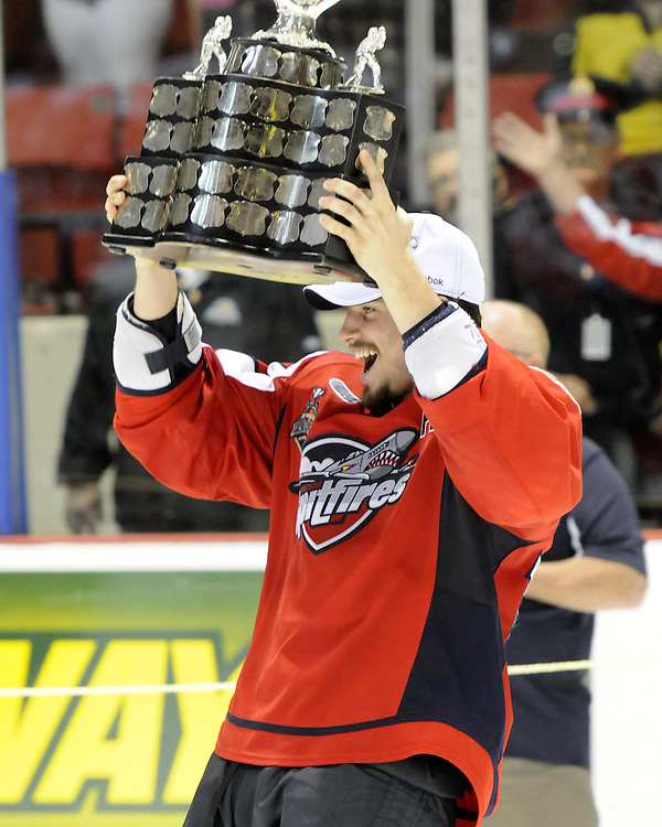 Adam Henrique and the Windsor Spitfires won the 2010 MasterCard Memorial Cup in Brandon, MB with a 9-1 win over the host Wheat Kings on Sunday May 23. Photo by Aaron Bell/CHL Images