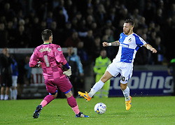 Matty Taylor of Bristol Rovers attempts to round Wycombe Wanderers Matt Ingram - Mandatory byline: Neil Brookman/JMP - 07966 386802 - 06/10/2015 - FOOTBALL - Memorial Stadium - Bristol, England - Bristol Rovers v Wycombe Wanderers - JPT Trophy