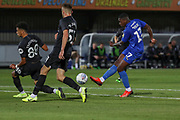 AFC Wimbledon attacker Michael Folivi (17) shoots on goal during the EFL Trophy (Leasing.com) match between AFC Wimbledon and U23 Brighton and Hove Albion at the Cherry Red Records Stadium, Kingston, England on 3 September 2019.