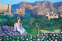 Maroc - Haut Atlas - Vallée du Dadès - El Kelaâ M'Gouna - Fresque de la vallée des roses à l'entrée de la ville