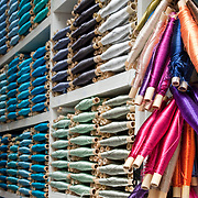 Colorful silk spools for sale at the souk in Fes, Morocco