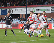 Dundee&rsquo;s Rory Loy ties in a shot which was saved on the line by Hamilton&rsquo;s Michael McGovern - Dundee v Hamilton Academical, Ladbrokes Scottish Premiership at Dens Park<br /> <br /> <br />  - &copy; David Young - www.davidyoungphoto.co.uk - email: davidyoungphoto@gmail.com