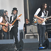 The Rin Tins performs at the Feast of St George to celebrate English Culture with music and English food stalls in Trafalgar Square on 20 April 2019, London, UK.