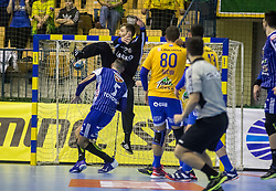Ferlin Klemen of RK Celje Pivovarna Lasko and Beciri Kristian of RK Celje Pivovarna Lasko vs Maqueda Peno Jorge of MOL Pick Zseged during VELUX EHF Champions League handball match between RK Celje Pivovarna Lasko vs MOL Pick Szegad on the February 10. 2019, Celje, Slovenia. Photo by Matic Ritonja / Sportida