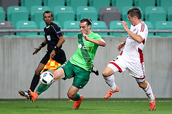 Denis Klinar of NK Olimpija and Peter Klescik of AS Trencin during 1st Leg football match between NK Olimpija Ljubljana (SLO) and FK AS Trencin (SVK) in Second Qualifying Round of UEFA Champions League 2016/17, on July 13, 2016 in SRC Stozice, Ljubljana, Slovenia. Photo by Morgan Kristan / Sportida
