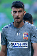 MELBOURNE, VICTORIA - JANUARY 06: Newcastle Jets defender Johnny Koutroumbis (18) looks on at the Hyundai A-League Round 11 soccer match between Melbourne City FC and Newcastle Jets on at AAMI Park in NSW, Australia 06 January 2019. (Photo by Speed Media/Icon Sportswire)