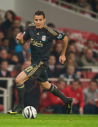 LONDON, ENGLAND - Wednesday, October 28, 2009: Liverpool's Philipp Degen in action against Arsenal during the League Cup 4th Round match at Emirates Stadium. (Photo by David Rawcliffe/Propaganda)