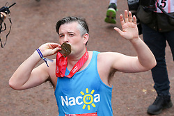 © Licensed to London News Pictures. 28/04/2019. London, UK.  Labour MP Jon Ashworth at the finish of 2019 Virgin Money London Marathon. Photo credit: Dinendra Haria/LNP