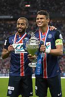Joie PSG - Lucas Moura / Thiago Silva - 30.05.2015 - Auxerre / Paris Saint Germain - Finale Coupe de France<br />Photo : Andre Ferreira / Icon Sport