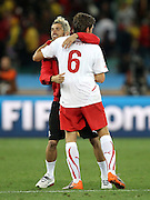 Benjamin HUGGEL celebrates after the 2010 FIFA World Cup South Africa Group H match between Spain and Switzerland at Durban Stadium on June 16, 2010 in Durban, South Africa.