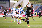 Brentford  defender Nico Yennaris (8)  scores a goal to make the score 1-1 during the EFL Sky Bet Championship match between Huddersfield Town and Brentford at the John Smiths Stadium, Huddersfield, England on 6 August 2016. Photo by Simon Davies.