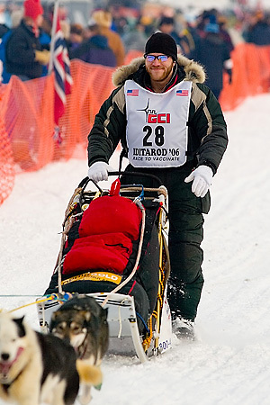 05 March 2006: Willow, Alaska - Noah Burmeister (28) heads out during the restart of the 2006 Iditarod on Willow Lake in Willow, Alaska