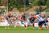 KELOWNA, BC - AUGUST 3:  JJ Heaton #62, Liam Hamlyn #50 and Alex Douglas #1 of Okanagan Sun line up against the Kamloops Broncos at the Apple Bowl on August 3, 2019 in Kelowna, Canada. (Photo by Marissa Baecker/Shoot the Breeze)