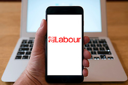 United Kingdom Labour Party logo on smart phone screen.