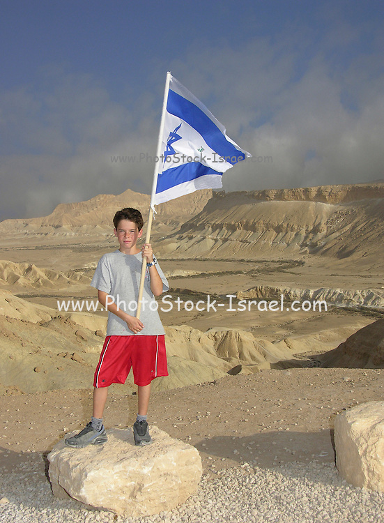 Boy waving the Israeli flag