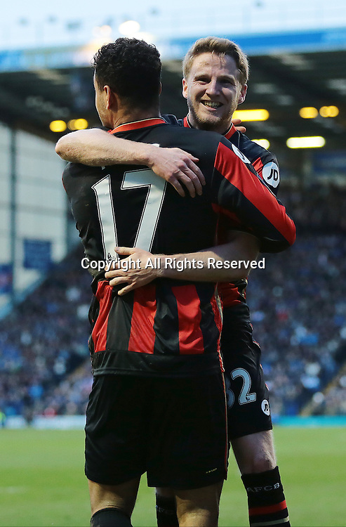 30.01.2016. Fratton Park, Portsmouth, England. Emirates FA Cup 4th Round. Portsmouth versus AFC Bournemouth.  Bournemouth Midfielder Eunan O'Kane celebrates with Bournemouth Forward Joshua King after King heads in from O'Kane's free kick