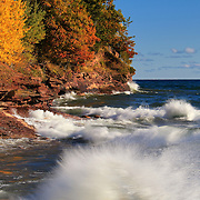 &quot;Wild and Free&quot;<br /> <br /> Amazing Lake Superior in autumn with its powerful waves and a glorious rocky coastline with fall color!
