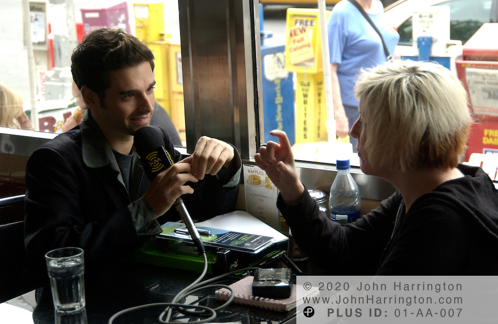 Chris Carrabba, the lead singer and guitarist of emo-alternative band Dashboard Confessional, is seen here being interviewed by XM at their Christmas in August promotion held in New York City on Wednesday August 18, 2004.